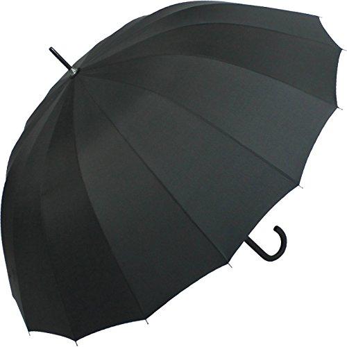 iX-brella Full-Fiber Sturmschirm - Regenschirm 16 Streben 105cm Automatik - super stabil schwarz