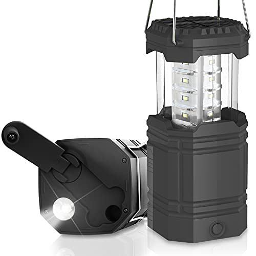 Linterna de Camping con Manivela Solar, Faroles Portátiles LED Lámpara Exterior Plegable,3 métodos de Carga,Linterna Camping para Pesca, Excursión, Jardín, Patio etc. (Negro)