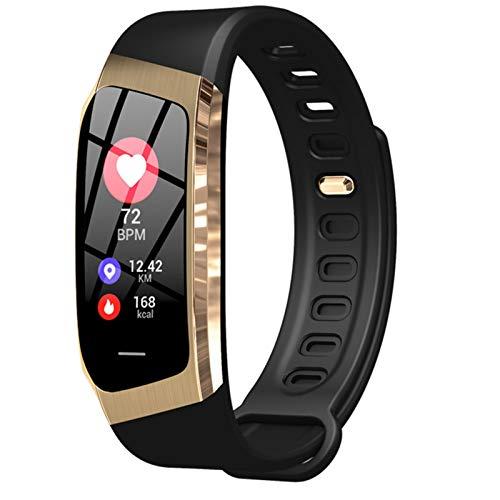 Smart Band E18 Fashion Smartband Color Screen Smart Watch Bracelet Heart Rate Blood Pressure Remote Camera Sports Fitness Bands (Color : Black gold)