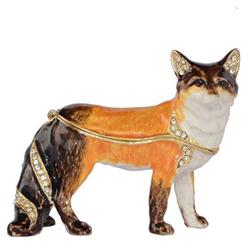 LiuliuBull Fox Jewelry Tinket Box Metal Tabletop Decoración Joyería Organizador Souvenir Fox Statue Festival Regalo Decoración de Escritorio
