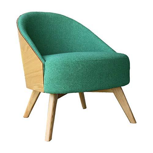 MATHI DESIGN UMEA - Sillón escandinavo de tela verde y madera