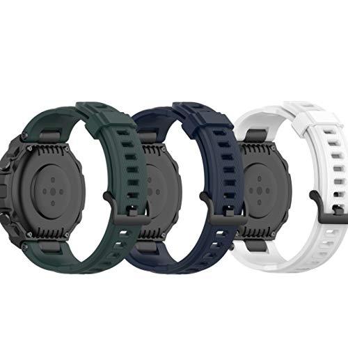 Ruentech Compatible con Amazfit T-Rex pulsera de repuesto de silicona para hombre y mujer, pequeña y grande (verde, azul marino y blanco)