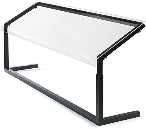 Carlisle 924803 Acrylic Adjustable Single Sided Sneeze Guard with Aluminum Frame, 48-1/4' Length x 12.44' Depth, Black