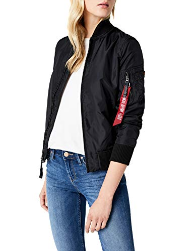 Alpha Industries Damen Ma-1 TT Bomberjacke, Schwarz (Black 03), Large