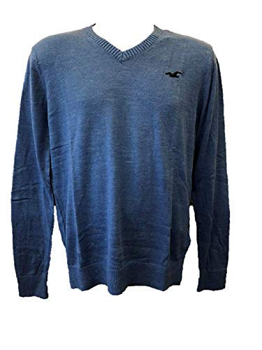 Hollister New Abercrombie Heather Blue - Jersey para hombre, cuello en V, talla XS/S