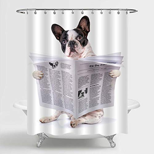MitoVilla Cartoon Dog Shower Curtain, Funny French Bulldog Reading Newspaper Painting Bathroom Accessories for Pet Themed Baby Kids and Animal Lovers Room Decor, 72' W x 78' L Long for Shower Tub