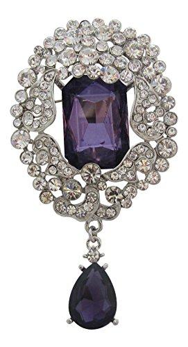 Broche Boutique grande Vintage Morado y cristal de Swarovski vestido broche/amatista gota broche