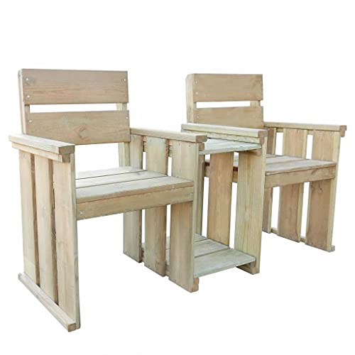 HUANGDANSP 2-Sitzer-Gartenbank 150 cm Imprägniertes KiefernholzMöbel Gartenmöbel Gartensitzmöbel Gartenbänke