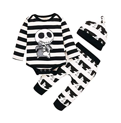 Infant Baby Boy Girl Traje de Halloween Pesadilla Antes de Navidad Ropa Skull Rompers Tops Fantasmas Pantalones Sombrero Set (Black, 0-6 Months)