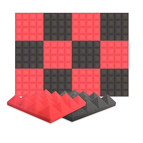 Arrowzoom 12 Akkustik Platten Akustikschaumstoff Fliesen Dämmung Wanddeko Pyramiden Noppenschaumstoff Breitbandabsorber Decke Foam Feuerhemmend 25x25x5cm Rot Schwarz