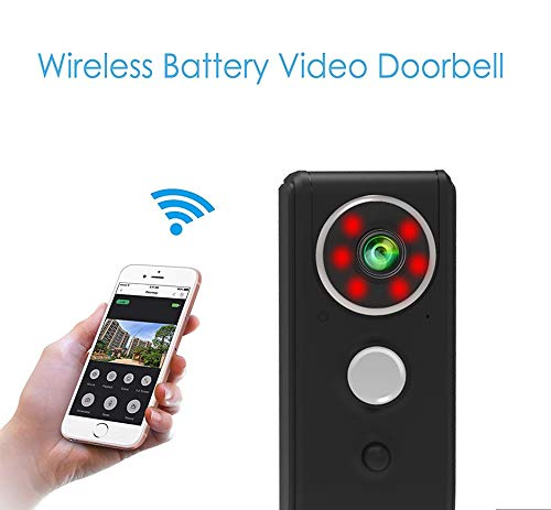 Video-deurbel, beveiligingscamera, spreek- en video, nachtzicht, videoopslag, fotogevoelige sensor met PIR-bewegingsdetectie, 100 graden groothoek.