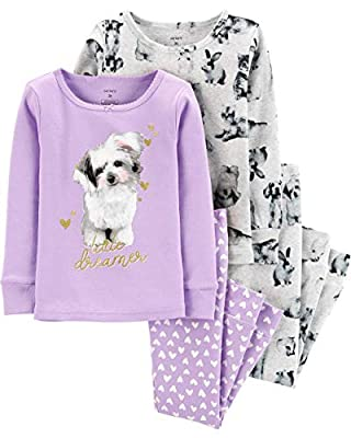 Carter's Toddler and Baby Girls' 4 Piece Cotton Pajama Set, Purple Dog, 5T