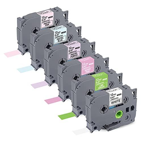 6 X compatibile con Brother PTouch TZ 12 mm Colored Tape TZE-231 MQG35 MQP35 MQF31 MQ531 MQE31 12 mm x 8 m per P-Touch PT-D210 PT-H110 PT-D600VP PT-H107B PT-H100000 LB