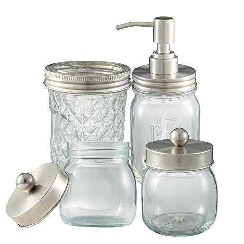 Bathroom Accessory Set 4 Pcs Glass Bathroom Decor Jar Soap Dispenser Toothbrush Holder 2 Apothecary Jars Farmhouse Decor Bathroom Home Decor Craft (Silver)