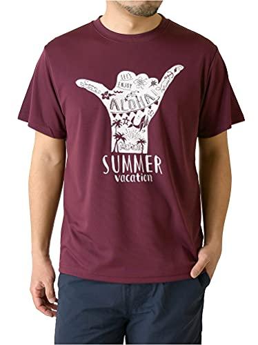 (リミテッドセレクト) LIMITED SELECT 半袖 tシャツ メンズ カットソー 吸汗 速乾 ドライ ストレッチ アメカジ ロゴ サーフ プリント スポーツ RQ0833C L O4-ワイン
