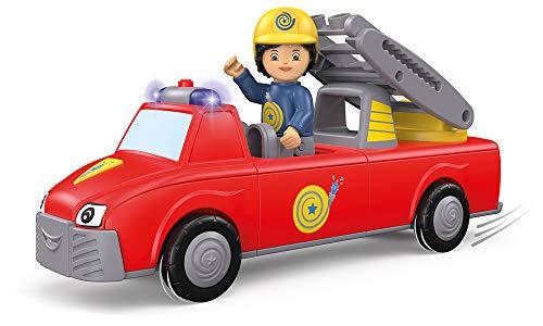 Toddys by siku 0124, Harry Helpy, 3-teiliges Feuerwehrauto mit Licht und Sound, Zusammensteckbar, Inkl. beweglicher Spielfigur und Leiter, Hochwertiger Schwungradmotor, Rot/Gelb, Ab 18 Monaten