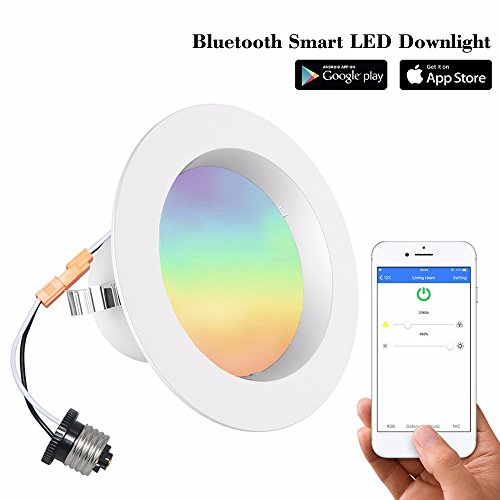iLintek Bluetooth Smart LED Downlight Mesh Multicolor 4 Inch Recessed Lights Color Changing RGB LED Light - Bluetooth App Group Smartphone Controlled for Halloween Christmas Party - No Hub Needed