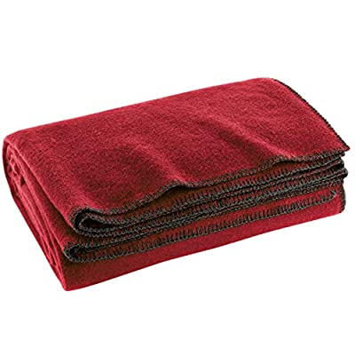 """Wool Military Camping, Survival, and First Aid Blanket, 68"""" x 90"""" (Maroon)"""