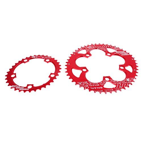 perfeclan MTB Rennrad Doppel Oval Kettenblatt 35T 50T 9 11 110BCD Kettenblatt Set - Rot