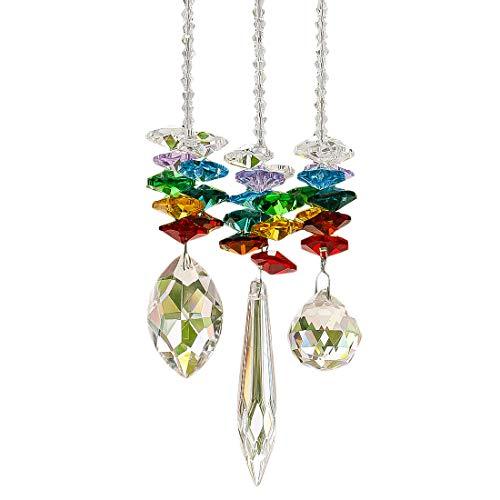 HampD HYALINE amp DORA Chandelier Crystals Prisms Rainbow Octagon Chakra Suncatcher Set of 3