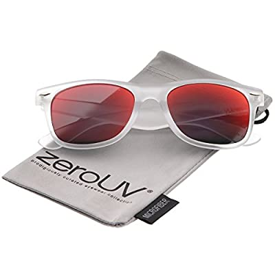 Matte Frosted Frame Reflective Colored Mirror Lens Horn Rimmed Sunglasses 54mm (Frost/Red Mirror)