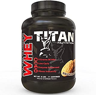 Titan WHEY Premium Whey Protein Powder for Improved Muscle Recovery with 23 Grams of Clean Whey Protein |BCAA and Digestive Enzymes| (Snickerdoodle, 5 lb)