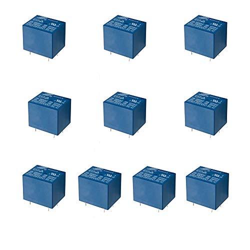QWORK 10 PCS 5-poliges PC-Relais Leistungsrelais, SRD-05VDC-SL-C 5V DC-Leiterplattentyp