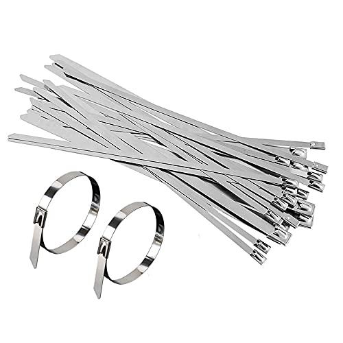 CHMYY 30 Pieza Stainless Steel Zip Ties,4,6 mm x 200 mm Sujetacables...