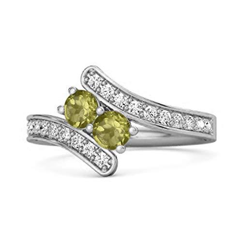 Shine Jewel Multi Elija su Piedra Preciosa 0.04 Ctw 925 Anillo de Bodas de derivación de vástago Dividido de Plata esterlina (14, Peridoto)