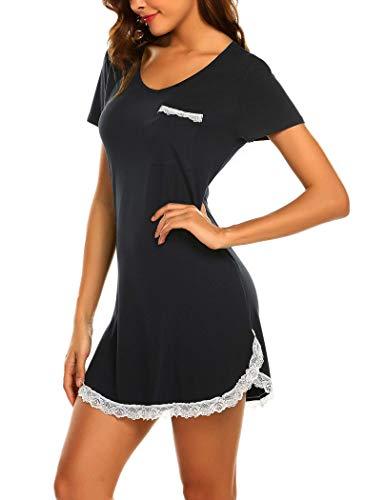 MAXMODA Nachthemd Damen Kurzarm Schlafshirt Kurz Sleepshirt Sexy Nachtwäsche Spitze, Schwarz, XL
