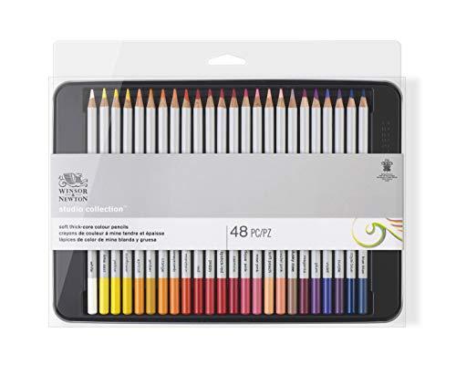 Winsor & Newton 490014 präzisions Künstlerfarbstifte im Set, 48 lebendige Farben, hochwertige Künstlerpigmente für farbkräftiges Malen in mehreren Schichten, höchste Farbbrillanz, bruchsicher