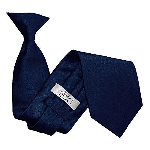 DQT Herren Einfarbig Satin Hochzeit Clip Standard Krawatte Marineblau