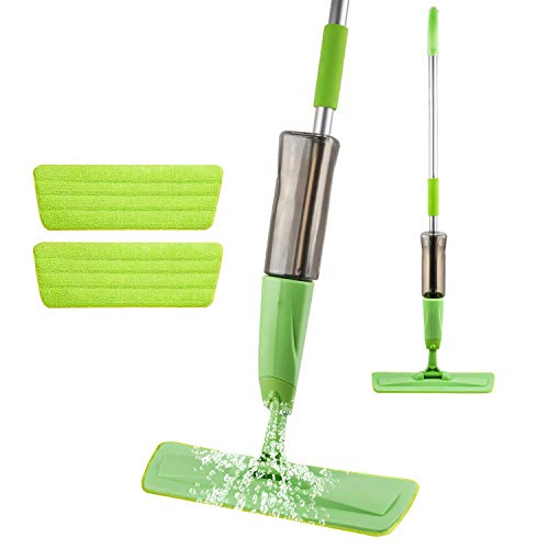 Microfiber Spray Mop for Floors Cleaning, with 2 Washable Mop Pads and 600ML Refillable Bottle-Green