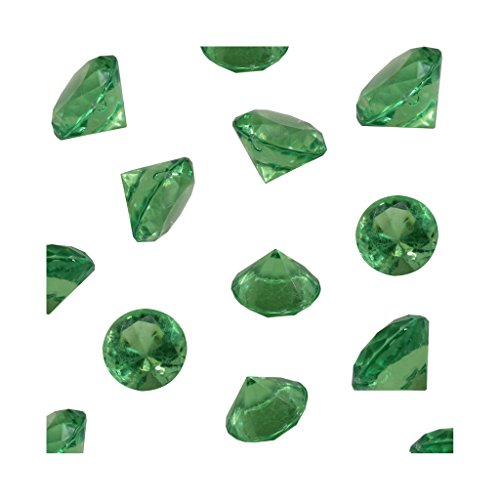 Grass Green Acrylic Diamond Vase Fillers 1 Pound - 240 pcs 3/4 Inch Wedding Party Event Banquet Birthday Decoration Crystals Gem Table Scatters (Grass Green, 240 pcs)
