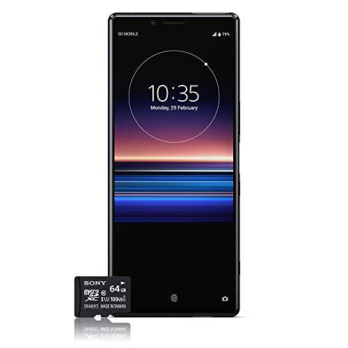 Sony Xperia 1 Smartphone B&le (16,5 cm (6,5 Zoll) OLED Bildschirm, Dual-SIM, 128 GB Speicher, 6 GB RAM, Android 9.0) Schwarz + gratis 64 GB Speicherkarte [Exklusiv bei Amazon] – Deutsche Version