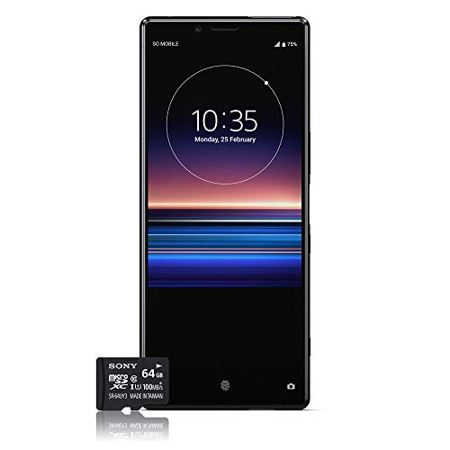 Sony Xperia 1 Smartphone Bundle (16,5 cm (6,5 Zoll) OLED Display, Dual-SIM, 128 GB Speicher, 6 GB RAM, Android 9.0) Schwarz + gratis 64 GB Speicherkarte [Exklusiv bei Amazon] – Deutsche Version