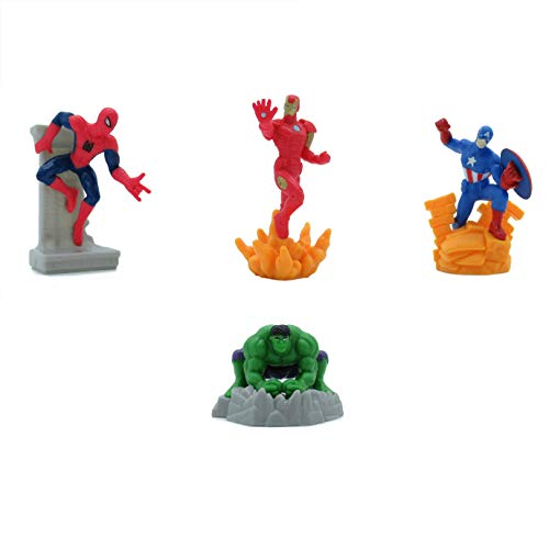 Avengers Set 4 Mini Figures 7cm Cake Topper Spider Man Iron Man Captain America Hulk Original