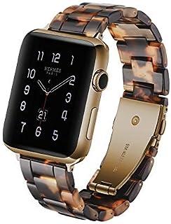 Correa de reloj de resina para Apple Watch Series 5 y 4 de 44 mm y Series 3, 2 y 1 de 42 mm (carey de tortuga)