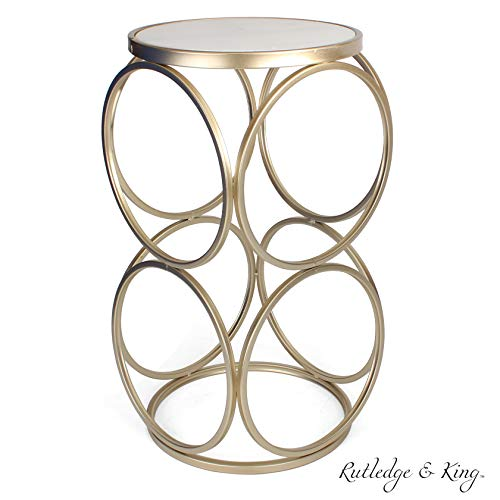 Round End Table - Gold End Table with Marble Top - Round Accent Table - Gold and Marble Metal Side Table - Rutledge & King Britton End Table (Marble/Gold)