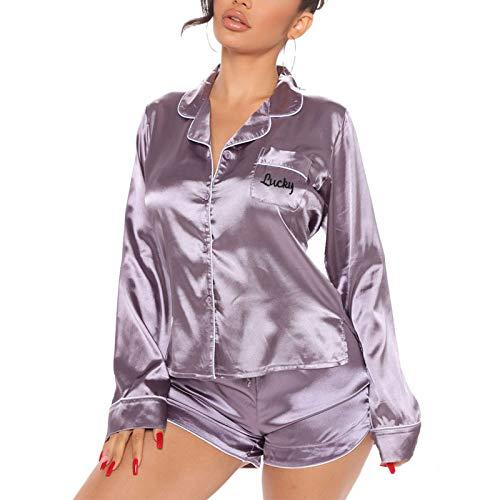 Pijamas para Mujer de Satén Conjuntos de 2 Piezas 1 Camisa Manga Larga con Botones + 1 Pantalones Cortos Ropa para Dormir Mujer Entero Sexy (Lilas, L)
