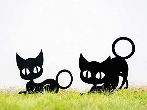 Hieefi Silueta Animal, Jardín Decoraton, Estaca Jardín del Metal De La Silueta De La Forma Animal Linda del Gato 2pcs Césped Arte Decoración del Arte De Negro