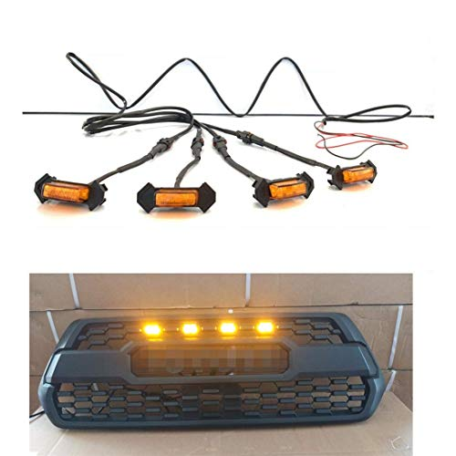 HONGKINGBO 4pcs Grill Lights Amber LED Fits for Toyota Tacoma TRD PRO Grille 2016 2017 2018,with The Wiring Harness