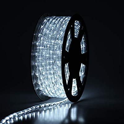 Buyagn 100Ft LED Rope Light, LED Strip Lights Outdoor Waterproof Decorative Lighting for Eaves Decorations,Backyards Garden and Party Decoration (Cold White)