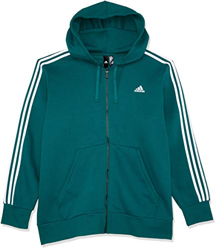 adidas Herren Kapuzen-Jacke Essentials 3 Stripes Full Zip, Noble Green/White, XL, DN8800