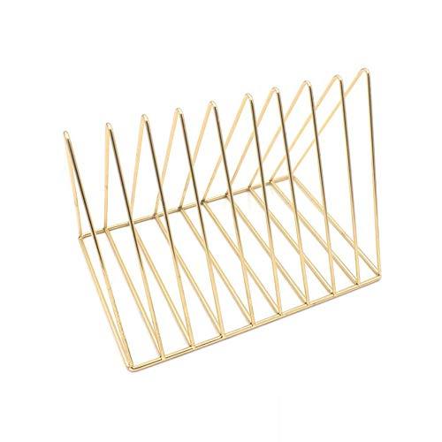 Rocita File Organizer Triangle Eisen Schreibtisch Storage Buch Rack-Bücherregal aus Metall Magazin Zeitungshalter für Büro Home - Gold
