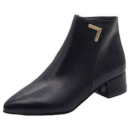 Stiefel Damen Westernabsatz Kurzschaft Reißverschluss Stiefeletten Einfarbiges Spitzschuhe Mode Freizeit Einzelne Schuhe PU Flock Zwei Typ (39 EU, Schwarz PU)
