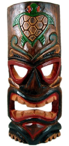 Alii of Hawaii Carved Tiki Mask with Painted Honu (Turtle) - Large