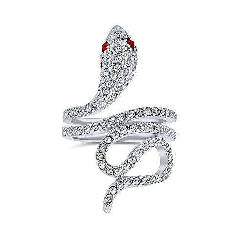 Bling Jewelry Envoltura En Espiral De Serpiente Serpiente Anillo Mujer De Ojos Rojos Zirconia Cúbico Pave CZ De Latón Chapado En Plata