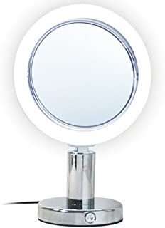 """LED Light Table Top Makeup Mirror - 7X Magnification Mirrors with Lights 6"""" x 12""""H - Electric Lighted Makeup Glass Satin Nickel Finish Double Sided Tilting"""