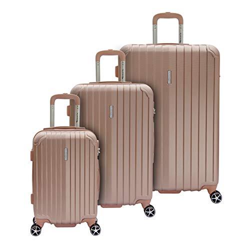 Tamaris Style Hartschalen Kofferset, 4 Rollen 3er Reisekoffer Set für Damen/Herren mit TSA-Zahlenschloss – (S, M & L), Rose